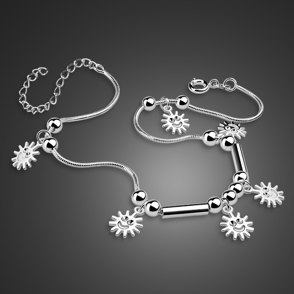 New sun pendant anklets.girl's fashion solid 925 silver anklets.Cute girl anklets.Charming women silver jewelry birthday present