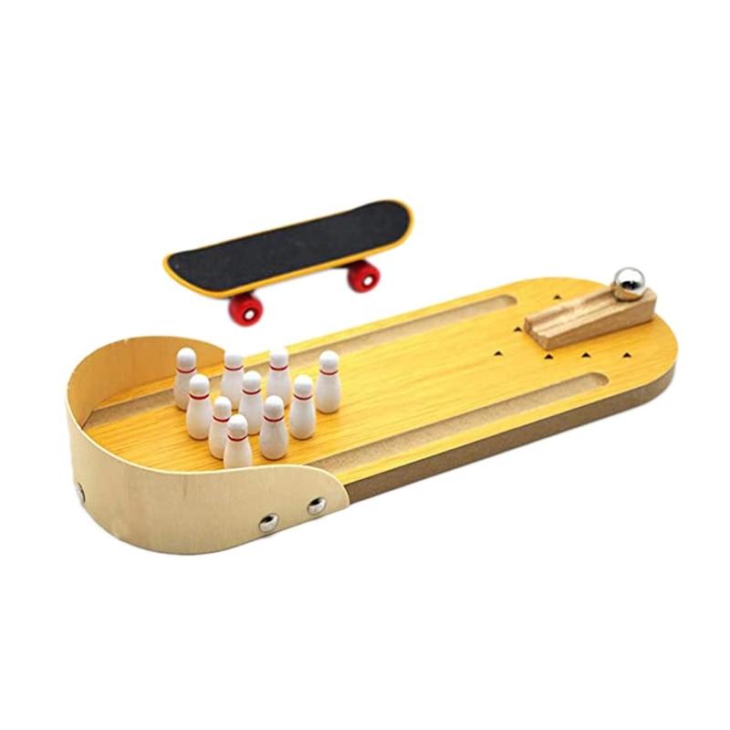 2 Pcs Bird Trick Training Toys Wooden Mini Desktop Bowling Skateboard Parrot Toys Education Toys For Various Parrots