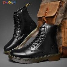 Ботинки-мартинсы мужские, Модные осенние черные ботинки челси с круглым носком, на шнуровке, прошитая мужская обувь, нескользящая обувь с вы...