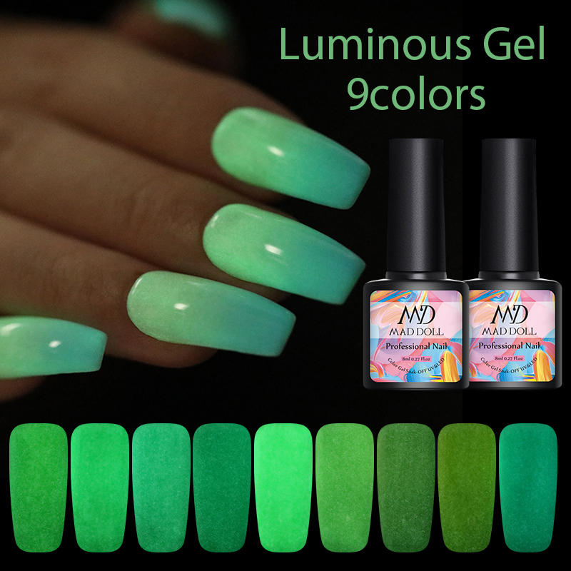 MAD DOLL 8ml 1 Bottle  9 Colors Luminous Gel Colorful Soak Off Gel Polish UV Nail Gel Summer Theme Nail Art Gel Varnish
