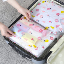 5pcs Transparent Shoes Bag with Lock Clothes Storage Luggage Bag Waterproof Fruit Plastic Travel Suitcase Organizer(China)
