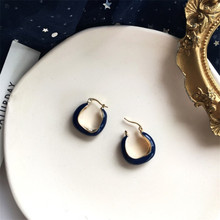 Vintage deep Blue U Shape Metal Irregular Earrings for Women Korea Minimalist Jewelry Gifts