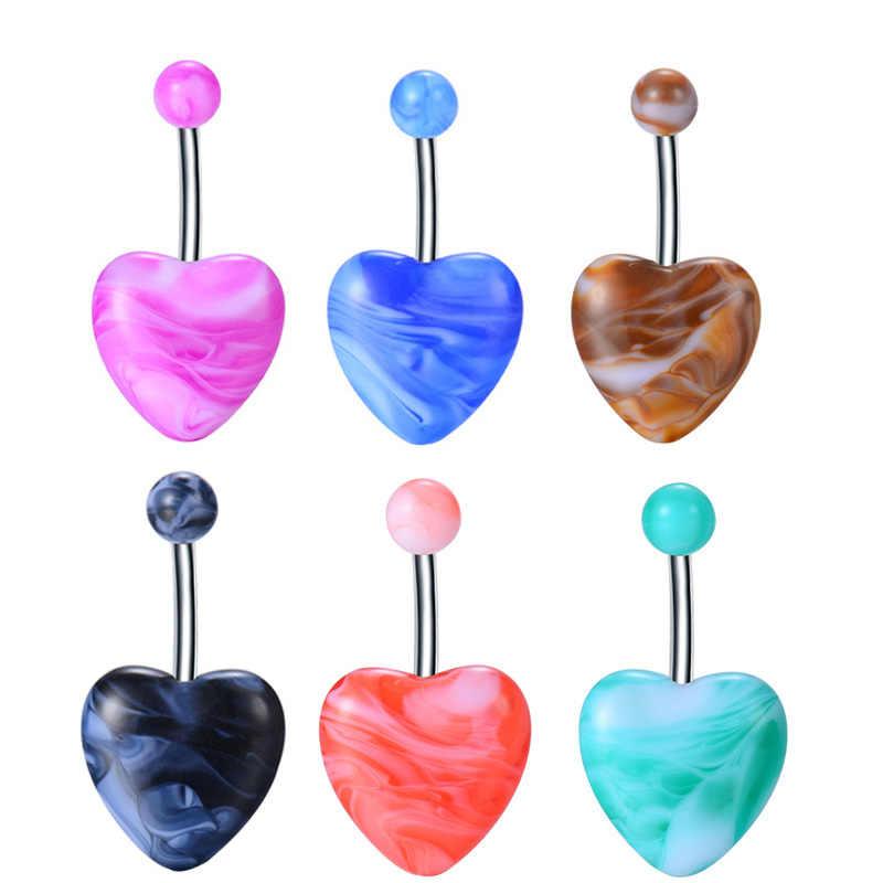 חם מכירות שני צבעים Mixcture חמוד ויפה לב צורת פופ פירסינג תכשיטי אקריליק טבור טבור טבעות אוהבים מתנה