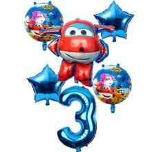 Ballons 3D Super Wings, 6 pièces, 32 pouces, décorations pour fête d'anniversaire, jouets pour enfants, fournitures