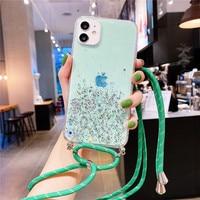 Sparkle Glitter correa de la cadena de cordón collar de cordón funda del teléfono para Huawei P8 P9 Lite 2017 P10 P20 P30 P40 Lite Pro Plus +