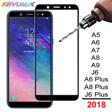 Полное Защитное стекло для samsung Galaxy J6 A6 A8 Plus A5 A7 A9 версия A750 A600 Защитная стеклянная пленка для экрана