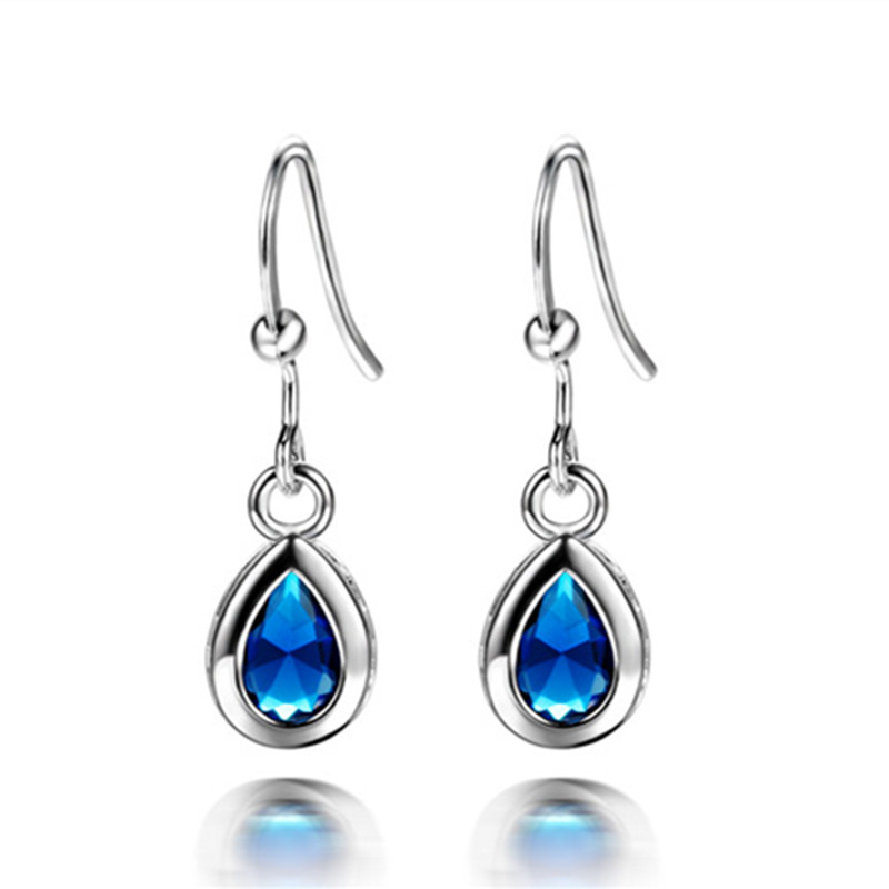 Korean New Style Waterdrop Long Dangle Earrings Fashion Colorful Cubic Zircon Hypoallerenic Jewllery for Women Girls