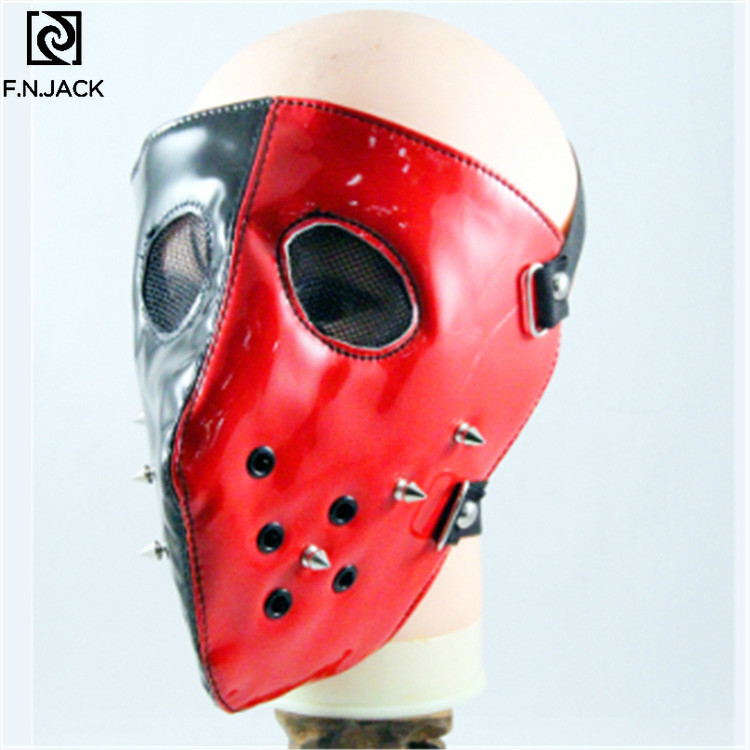 Black And Red Two-sided New Personality Spiked Mask Punk Rock Trend Mask Performance Mask