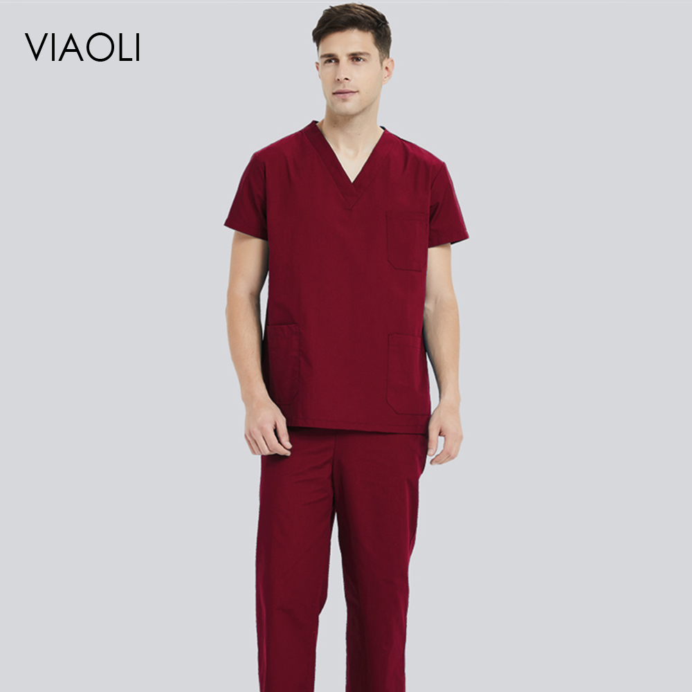 Viaoli Unisex Medical Uniforms Nursing Scrubs Clothes Short Sleeved Tops Pants Doctor Shirt Brush Hand Clothing Work Clothes Men