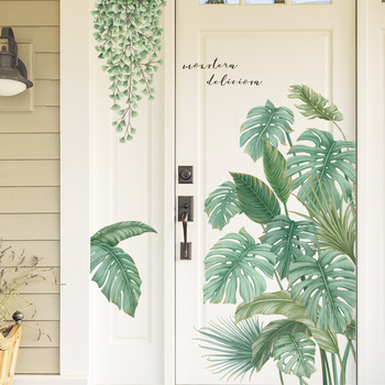 Nordic style Tropical plants Leaves Wall Stickers for Living room Bedroom Eco-friendly Vinyl Wall Decals Art Poster Home Decor 1