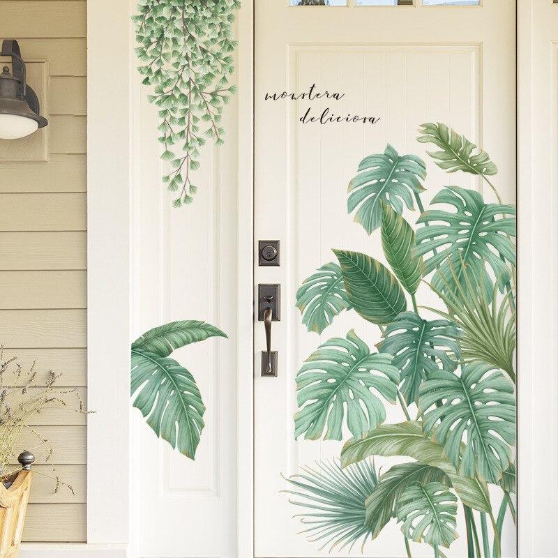Estilo nórdico, hojas de plantas tropicales, pegatinas de pared para sala de estar, dormitorio, vinilo ecológico, Póster Artístico con calcomanías para decoración del hogar Adhesivos para pared    - AliExpress
