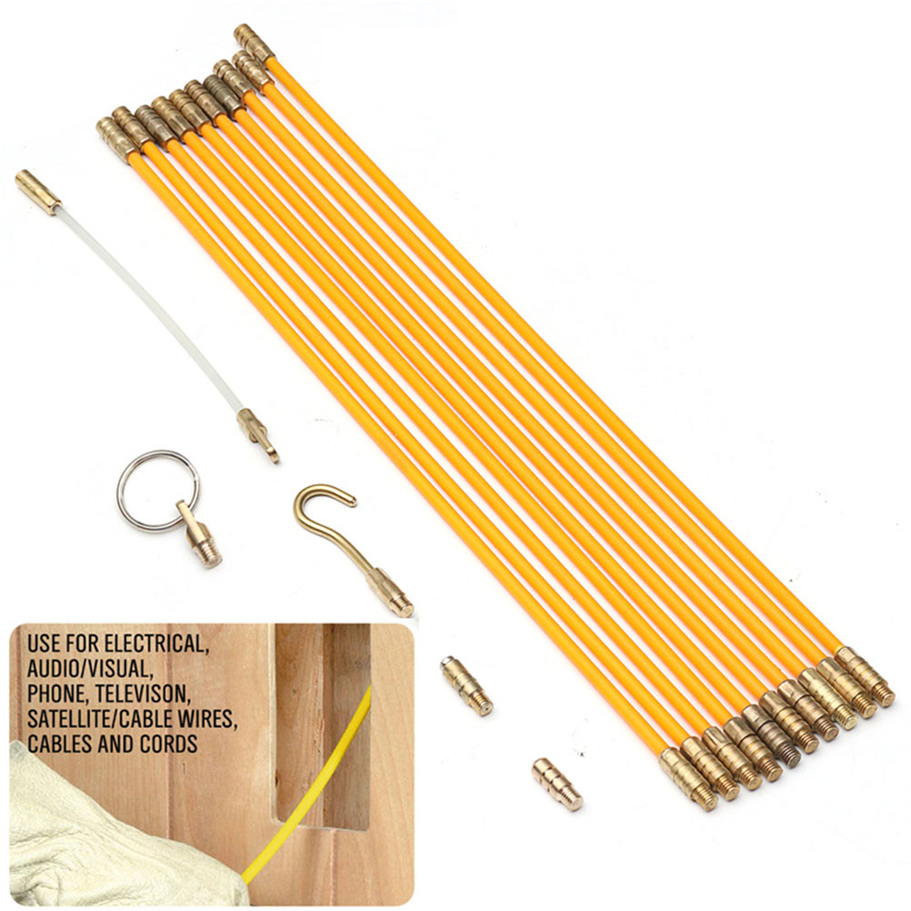 Fiberglass Fish Tape Set 4mm 33cm Snake Push Wire Threader Conduit Connectable Wall Guide Device Home Improvement Electric Cable Puller Duct Tool Accessories Cabling Rods