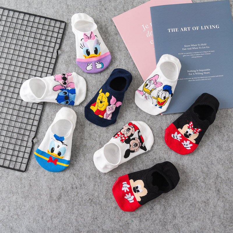 Women Socks Cartoon Animal Mouse Socks Cute Kawaii Funny Ankle Socks Invisible Silicone Slip Socks Girl Cotton Boat Sock