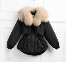 jacket kawaii winter Short cotton jacket, large fur collar, drawstring waist, slim down