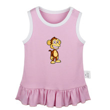 Cartoon Monkey Butterfly Properties Find Your Happiness Newborn Baby Girls Dresses Toddler Sleeveless Dress Infant Clothes(China)
