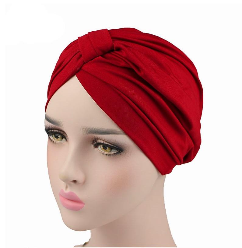 Для женщин тюрбан эластичный спандекс тюрбан шляпа мусульманских тюрбан Головные уборы для банданы для химиотерапии женские аксессуары дл...