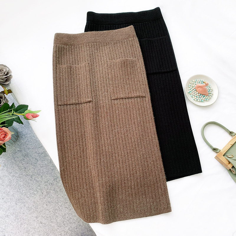 2019 High Waist Knitted Women Winter Boydonc Midi Skirt With Pocket Fashion Women Autumn Skirt Split Hem Faldas Jupe Femme Saia