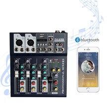 Bluetooth portátil de áudio mixer usb dj som mixing console mp3 jack 4 canais karaoke amplificador sistema som digital mini mixer