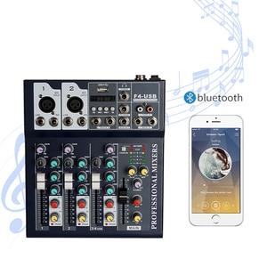 Bluetooth Portable Audio Mixer USB DJ Sound Mixing Console MP3 Jack 4 Channel Karaoke Amplifier System Digital Sound Mini Mixer