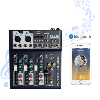 Bluetooth Portable Audio Mixer USB DJ Sound Mixing Console MP3 Jack 4 Channel Karaoke Amplifier System Digital Sound Mini Mixer tkl mini bluetooth audio mixer 4 channel dj mixer sound console mp3 usb jack 48v phantom power