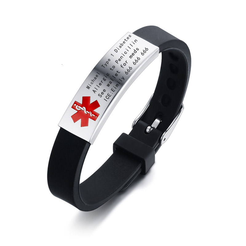 Vnox Engravable Medical Alert ID Bracelet DIABETES EPILEPSY ALZHEIMER'S ALLERGY SOS Women Men Personalized Jewelry