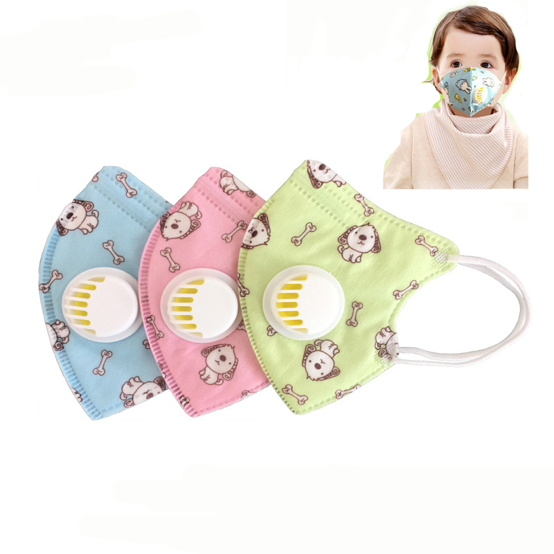 2pcs Children  Vertical Folding Non Woven Fabric Mask With Breath Valve Anti Dust Mouth Muffle Mouth Mask PM2.5 Respirator