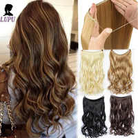 24 Inches Invisible Wire No Clips In Halo Hair Extension Long Long Curly Secret Wire Fish Line Hairpieces For Women LUPU WIG