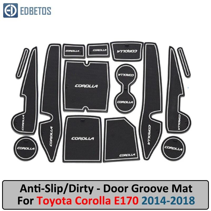 Door Groove Mat For Toyota Corolla 2014 2015 2016 2017 2018 E170 Corolla Altis Anti-Slip Mat Gate Slot Coaster Anti-Dirty Mat