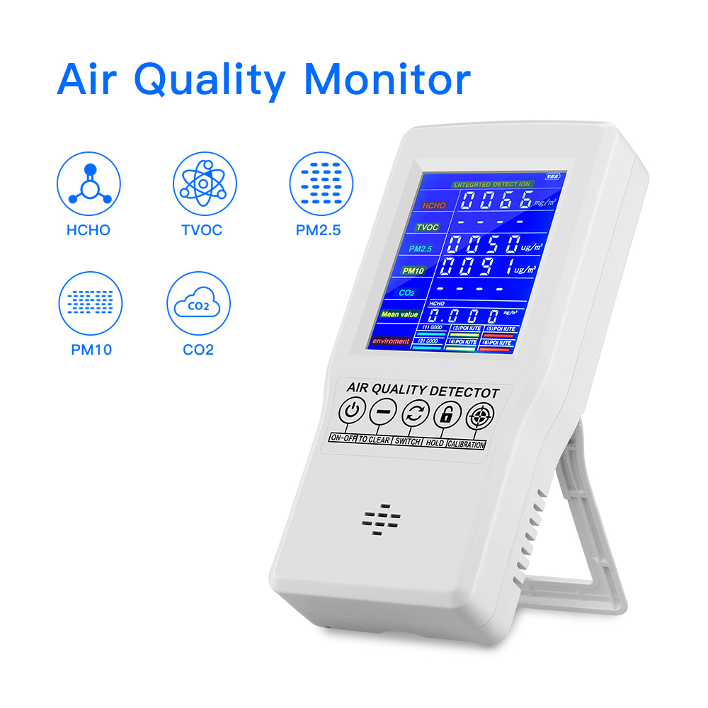 Air Quality Monitor PM2.5 PM10 Formaldehyde HCHO TVOC CO2 LCD Digital Detector Gas Analyzer Protable Air Quality Tester