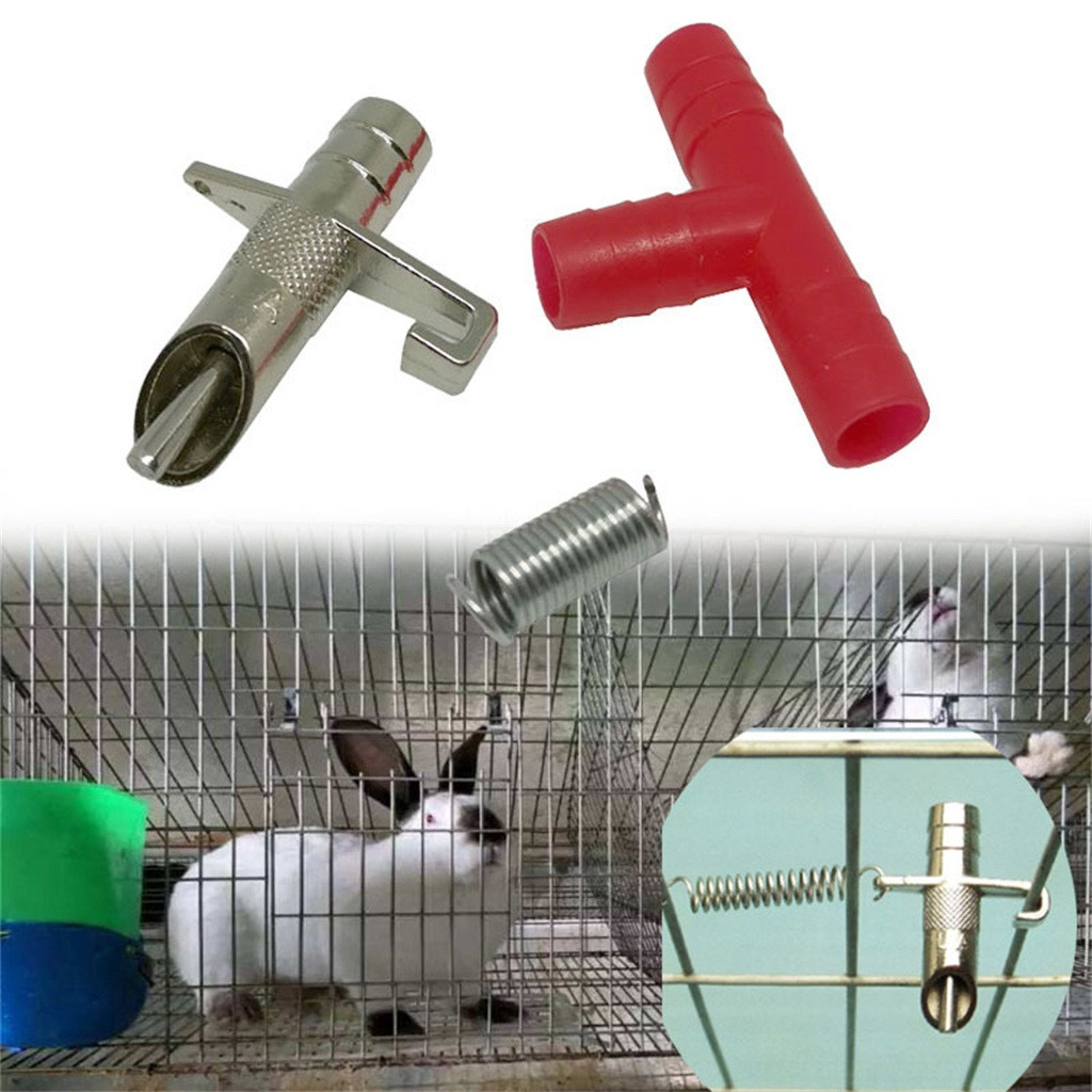 100 Sets Rabbit Nipple Water Drinker Waterer Poultry Feeder Bunny Rodent Mouse