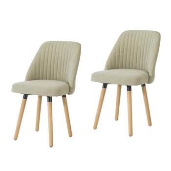 SoBuy FST84-MIx2 zestaw 2 krzesła do jadalni krzesła akcentujące fotele wypoczynkowe krzesła biurowe tapicerowane oparcie fotela i buk Woo tanie i dobre opinie CN (pochodzenie) Drewna