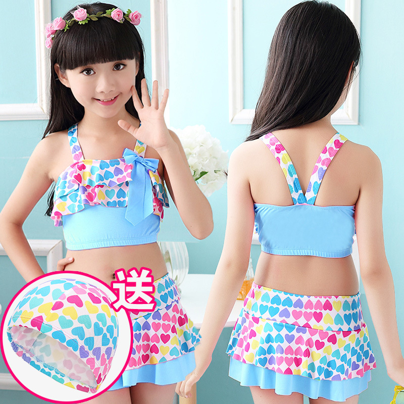 Guest KID'S Swimwear Girls Swimwear GIRL'S Split Type One-piece Cute Baby Big Boy Swimwear