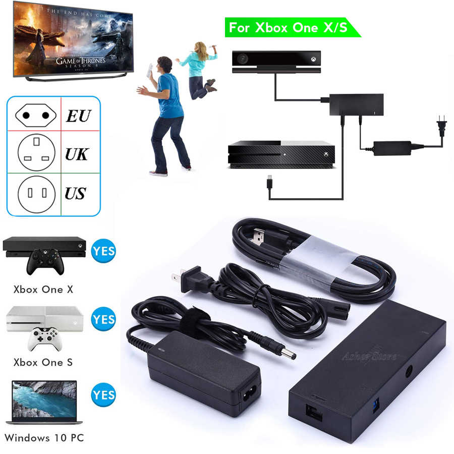 2020 New Kinect 2.0 Version Sensor AC Adapter Power Supply for Xbox one S / X / Windows PC for X BOX ONE Slim/X Kinect Adaptor