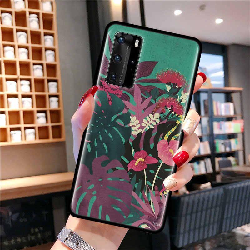 Foglie di palma Pianta Cassa Del Fiore Per Samsung Galaxy A51 A71 A01 A81 A91 A50 A70 A70s M31 In Silicone Nero fundas Copertura del telefono