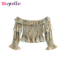 Crop Top Women Boho Floral Print Blouse Women  Smocked Elastic Summer Short Style Tops Vintage Slash Neck Ruffles Beach Shirts smocked neck fit