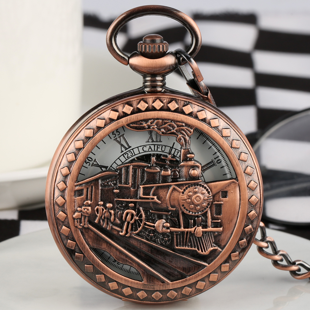 Exquisite Hand-winding Mechanical Pocket Watches Men  Retro Steam Train Cover Case Roman Numerals Dial Neckalce Pendant Women