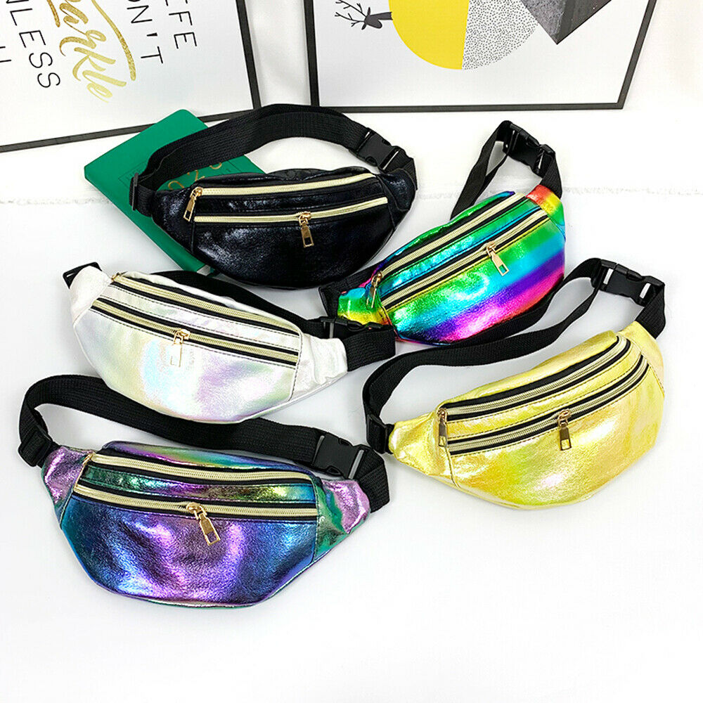 New Fashion Women Ladies Waist Bag Laser Fanny Pack Running Zip Belt Money Pouch Travel Holiday Bag Black White Yellow Purple