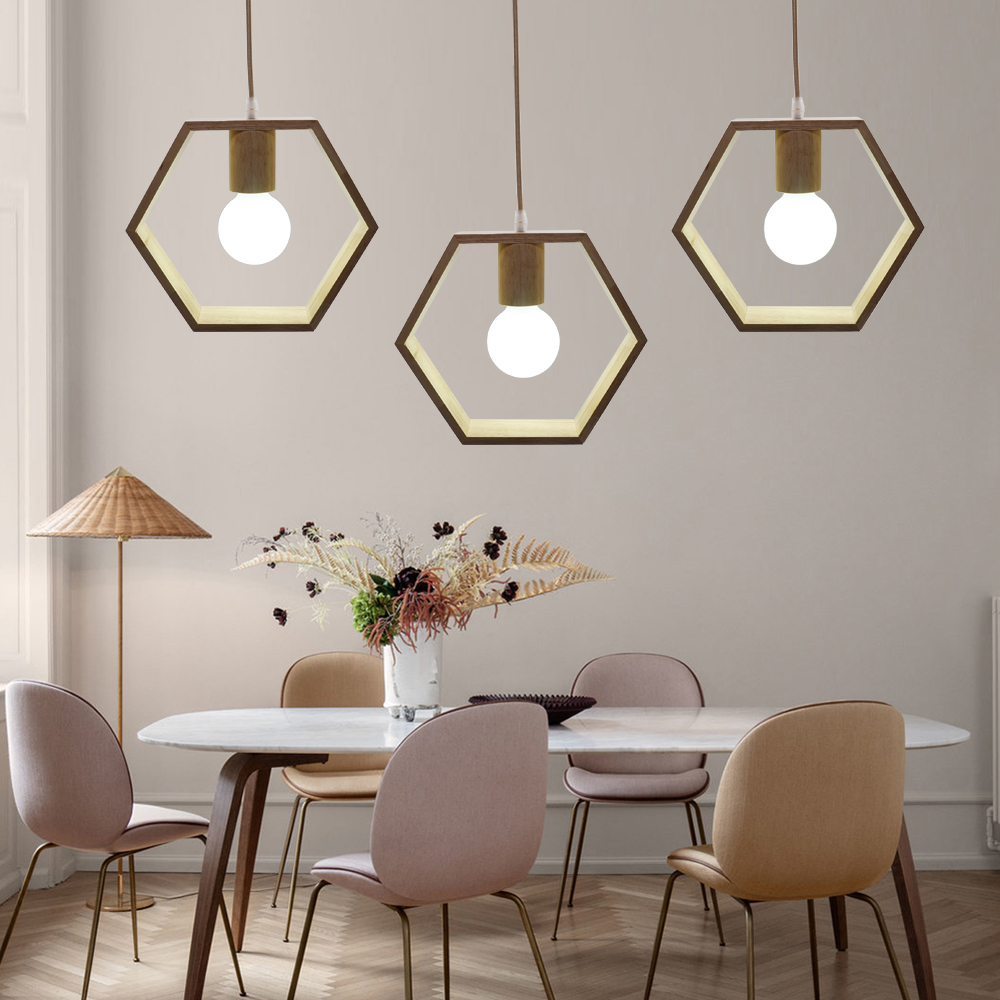 Artpad Wooden Pendant Lamp Indoor Home Living Room Hotel Decortive Nordic Simple Natures Wood Geometric Hanging Lights E27