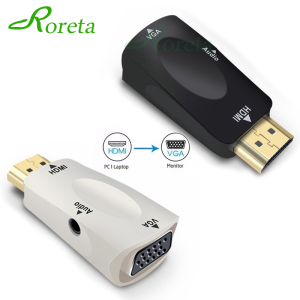 Image 1 - Roreta HDMI to VGA Adapter Audio Cable Converter Male to Female HD 1080P For PC Laptop TV Box Display Projector