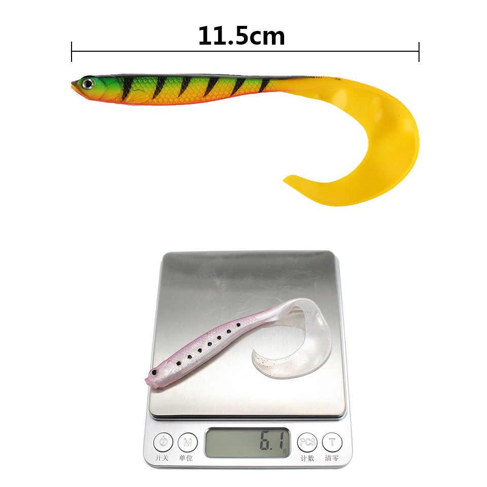 11.5 ซม.6.1Gยางนุ่มเหยื่อตกปลาเหยื่อJig Wobblerหนอนปลาคาร์พเหยื่อตกปลาซิลิโคนเหยื่อ