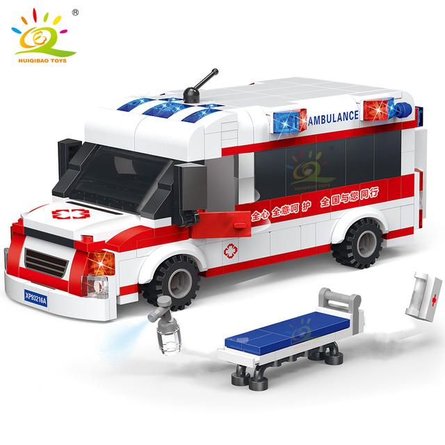 HUIQIBAO 354PCS City Recuse Ambulance model Building Blocks Hospital car truck Brick Set Educational toys for children kids gift