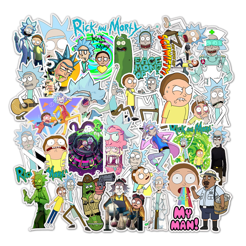 35Pcs/lot American Drama Rick And Morty Cartoon Stickers Decal For Snowboard Luggage Car Fridge Car- Styling Laptop Stickers