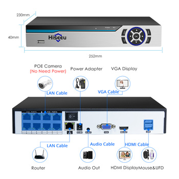 Hiseeu 4K 8CH POE NVR ONVIF H.265 3.5mm Audio Out Surveillance Security Video Recorder for POE IP Camera (1080P/4MP/5MP/8MP/4K) 1