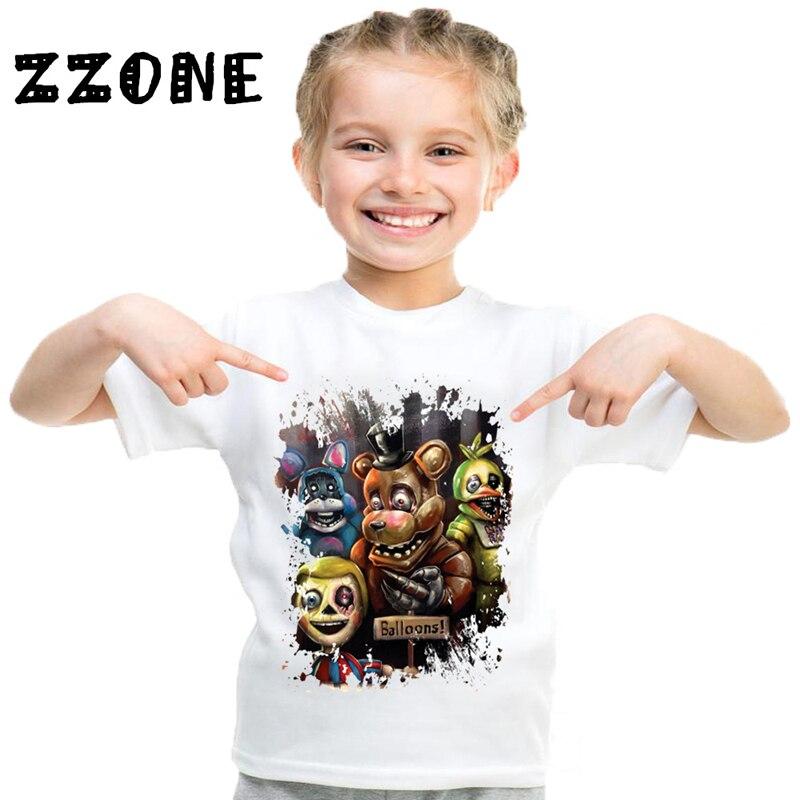 Crianças cinco noites no freddy cartoon engraçado t camisa crianças 5 freddys roupas do bebê meninos meninas verão topos|Camisetas|   -