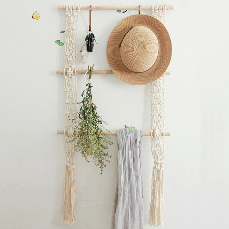 Boho Decor Macrame Wall Hanging Porch Rack Hand-woven Nordic Photo Frame Wall Tapestry Decoration Headboard H Blanket Mandala
