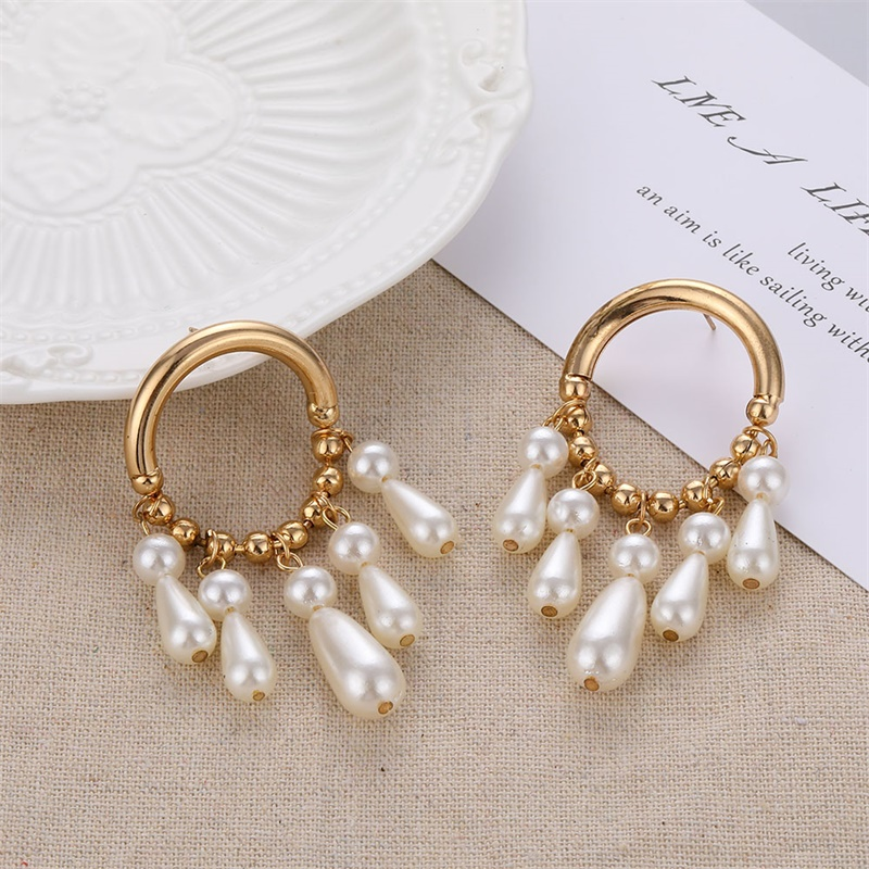 FNIO Big Simulated Pearl Earrings 19 For Women Lover Geometric Gold Round Heart Drop Dangle Earring Korean Statement Jewelry 4
