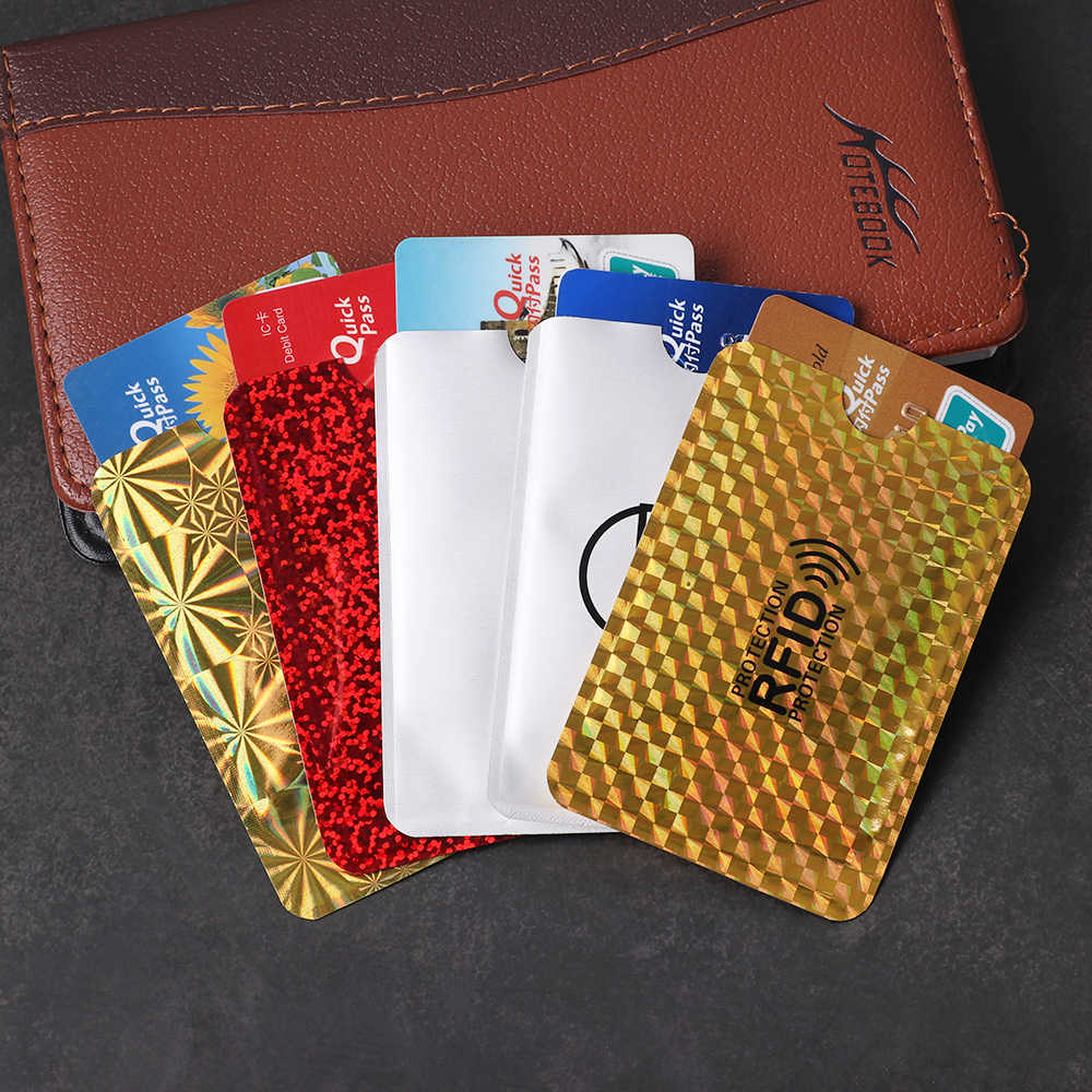 5PCS Aluminum Foil Anti-degaussing Card Protection Bank Cards Set RFID Shielding Bag NFC Anti-theft Brush ID Card Holder Cover