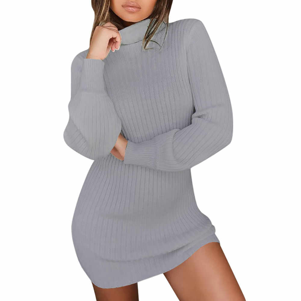 Jaycosin 패션 캐주얼 레이디 긴 소매 느슨한 터틀넥 니트 스웨터 드레스 세련된 편안한 우아한 맞는 탑