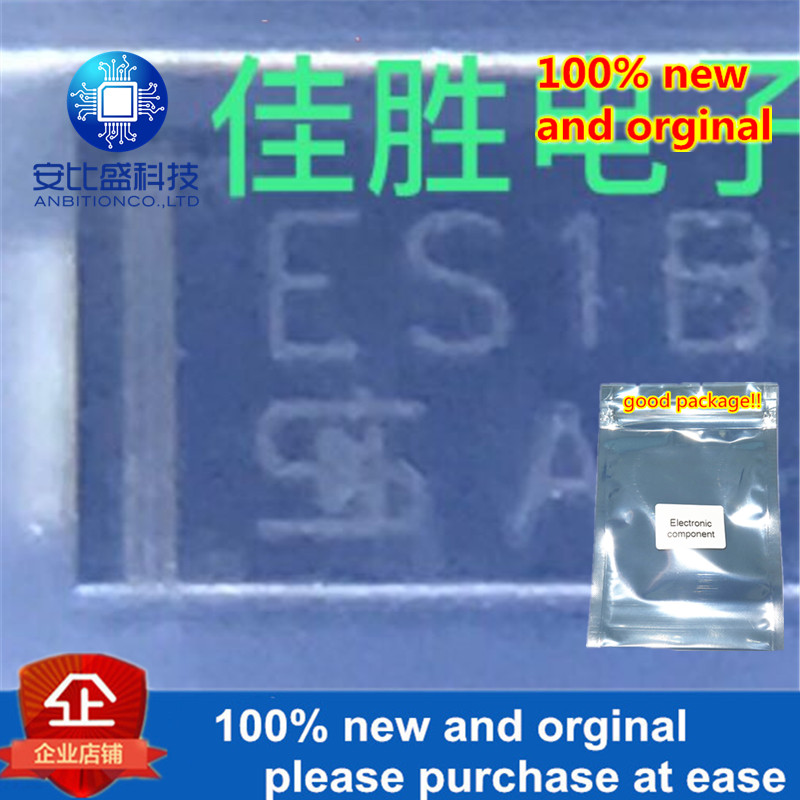 100pcs 100% New And Orginal 1A100V Ultrafast Recovery Diode DO214AC Silk-screen ES1B  In Stock