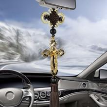 Cross Jesus Christian Religious Car Pendant Metal Diamond Car Rearview Mirror Ornament Decal Hanging Automobiles Car Accessories